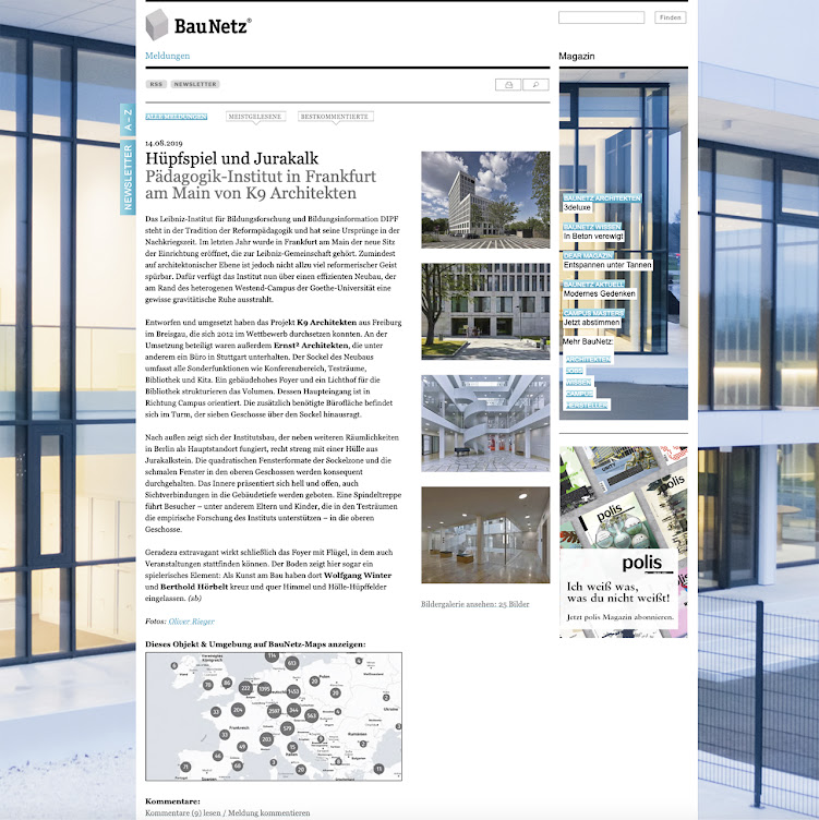 Baunetz 08.2019 DIPF Frankfurt K9 Architekten