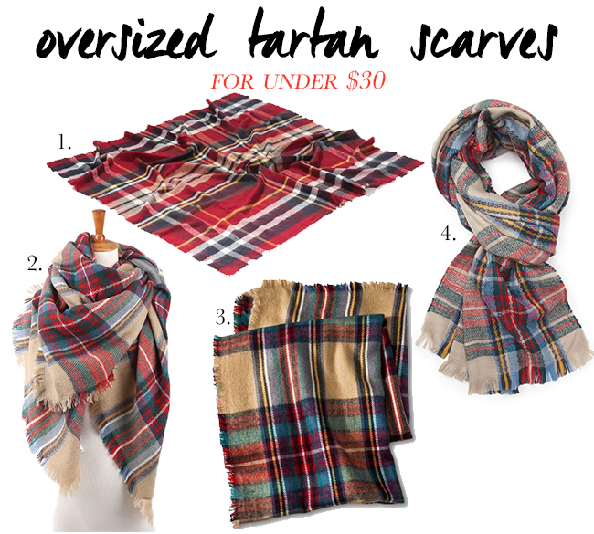 Four Blanket Tartan Scarves for under $30! Perfect accessory for the fall and winter.
