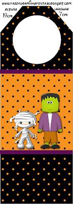 Frankenstein y Momia: tarjetería para imprimir gratis.