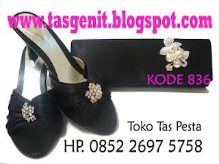 tas pesta dan sandal pesta, sepatu pesta hitam