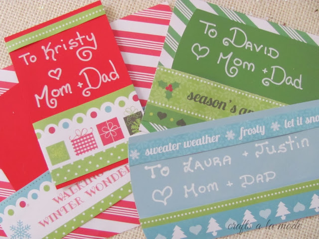 Tags for presents made with paint chips