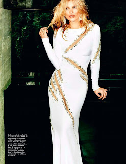 Kate Moss wearing a glamorous white dress
