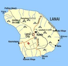 Printable Hawaii maps of Lanai Island