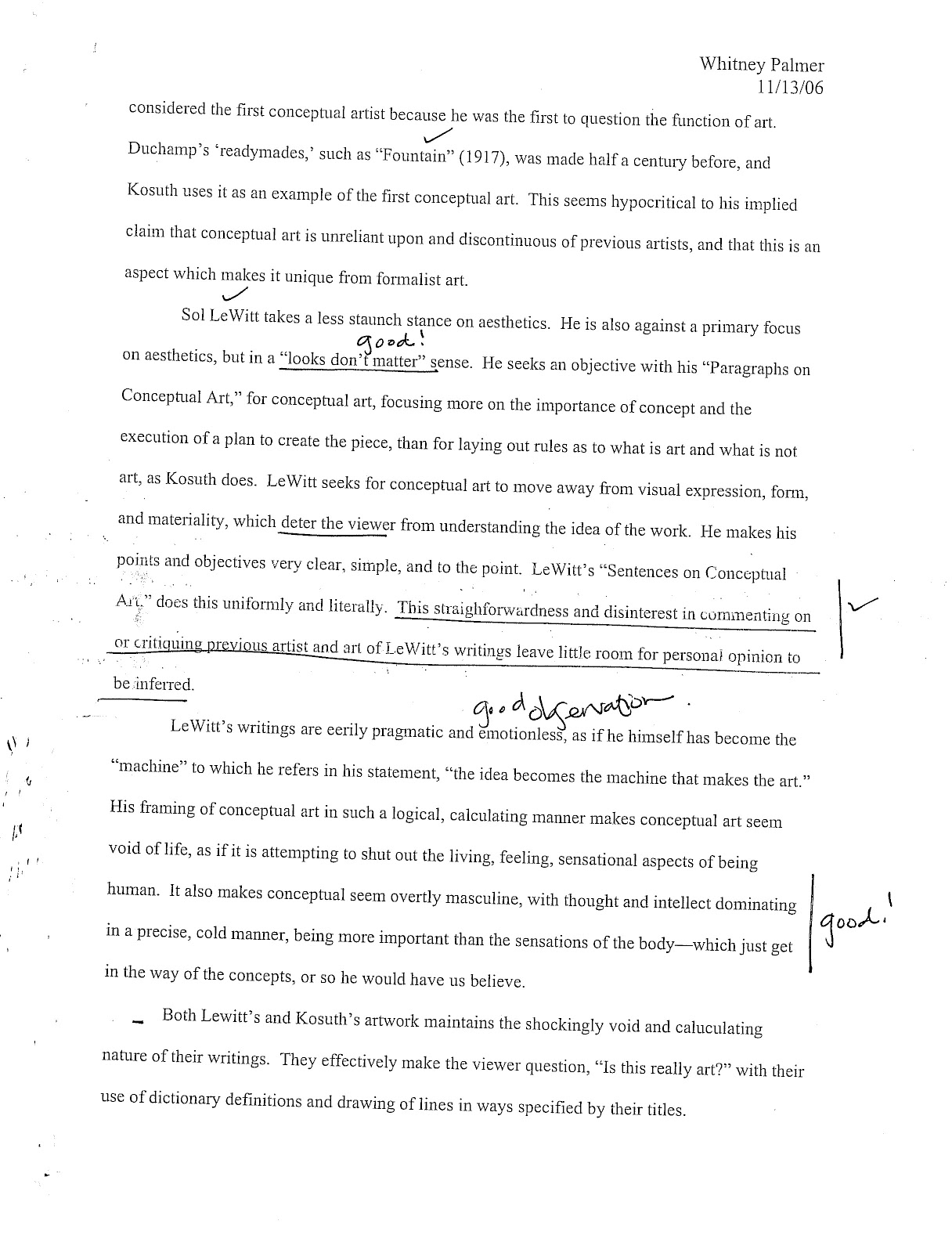 essay from art history fall contemporary art post  essay from art history 354 fall 2006 contemporary art post 1945 wwii a comparative analysis on sol lewitt s paragraphs on conceptual art and sentences