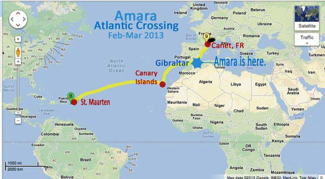 Sailing around the world transatlantic crossing route for those of you who would like to see the atlantic crossing that amara will be making i made a little map for you to see the route that she will be gumiabroncs Image collections