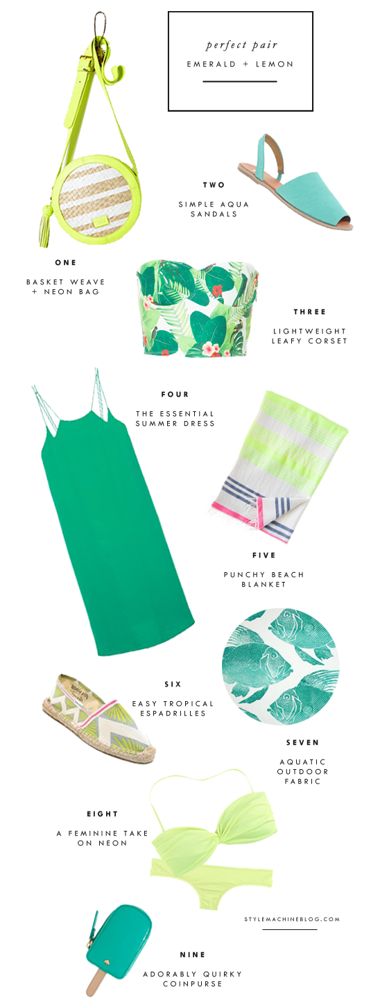 Summer Style: Tropical Emerald Green paired with Bright Neon Lemon Yellow