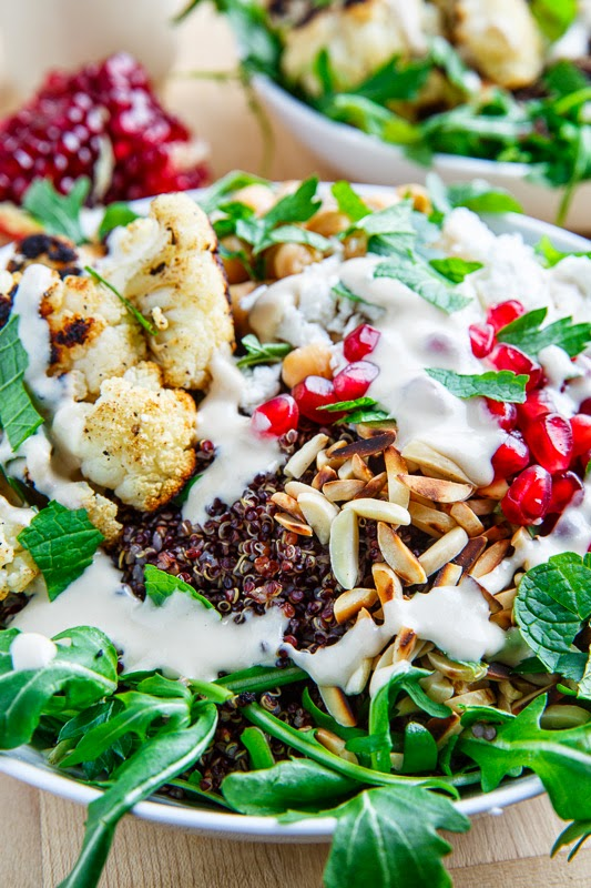 Roasted Cauliflower and Chickpea Quinoa and Arugula Salad with Almonds ...