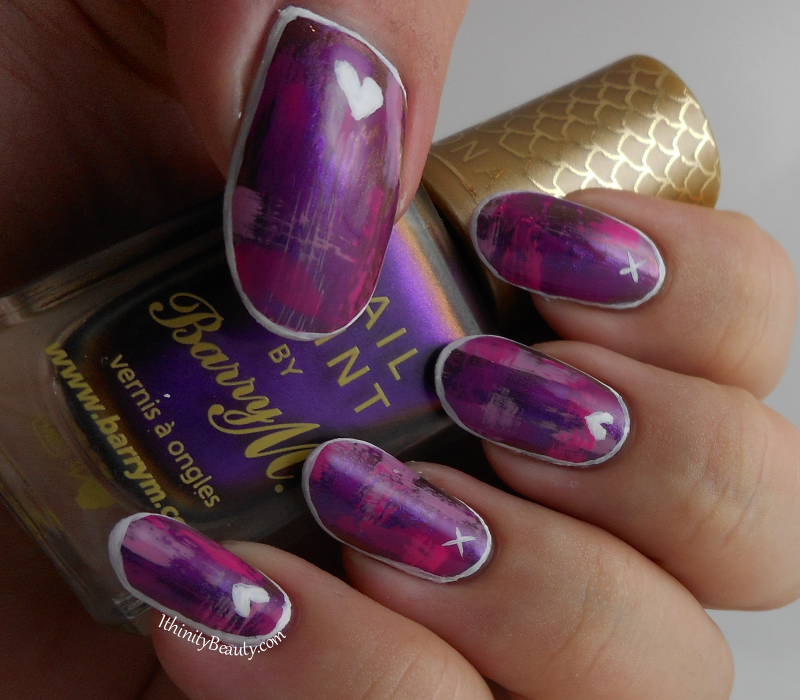 Dry Brush Hearts & Kisses Nail Art | IthinityBeauty.com Nail Art Blog
