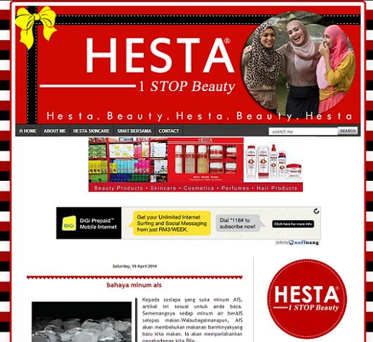 Tempahan : Hesta 1 STOP Beauty