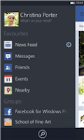 Screenshots of Facebook beta app