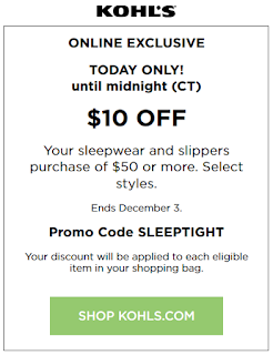 Kohl's Coupon $10 off $50 Sleepwear