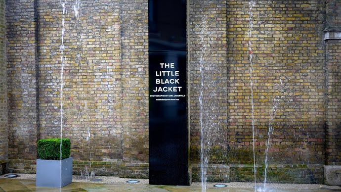 The entrance to the little black jacket exhibition with pictures by Karl Lagerfeld in the Saatchi Gallery, London