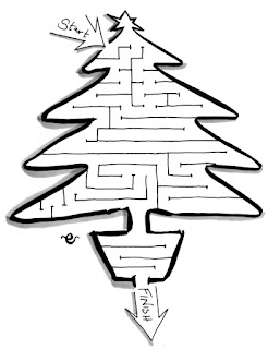 Christmas tree maze, activity for children