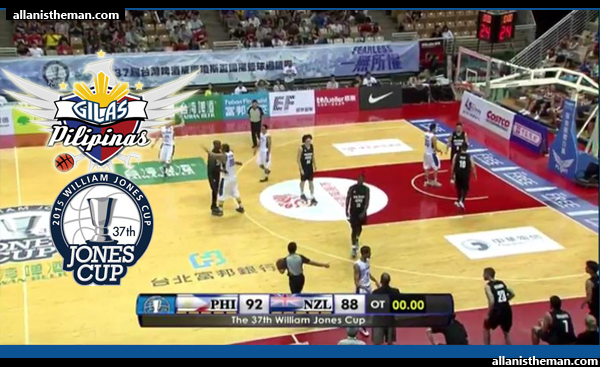 Gilas Pilipinas defeats New Zealand with 92-88 overtime victory - Jones Cup 2015