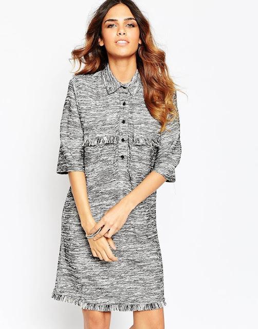 grey shirt dress, tassel shirt dress,