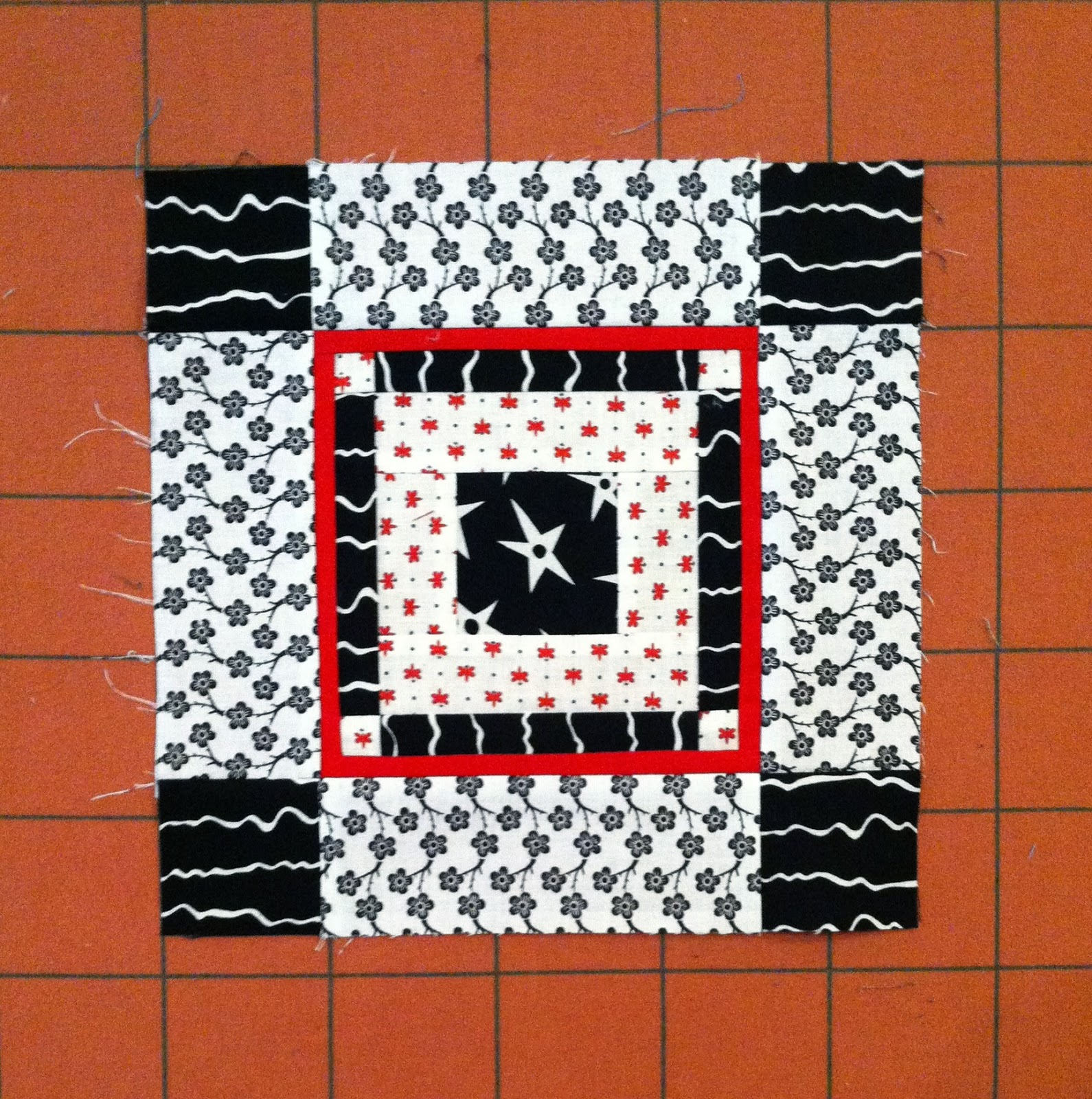 Block Swap, Wonky Square Block, Red, White and Black Block