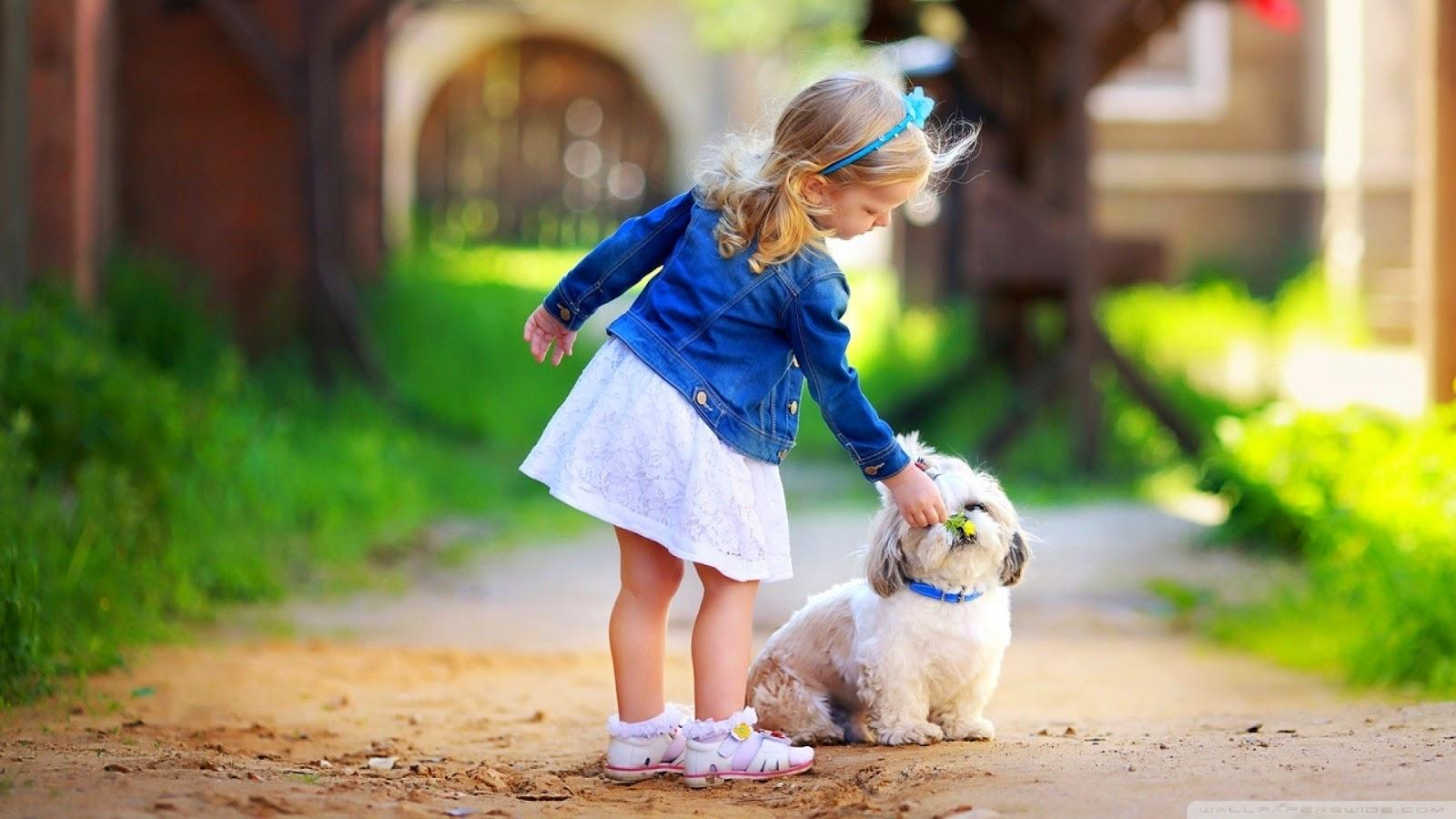 girl and dog wallpaper