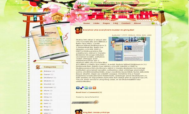 Free Japan Art Colorful Blogger Layout Template