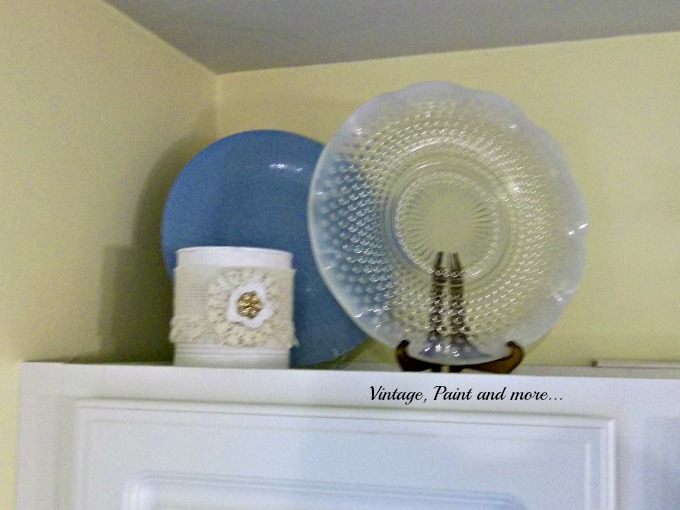 Vintage, Paint and more... spray painted dollar store plate, painted tin can, antique plate