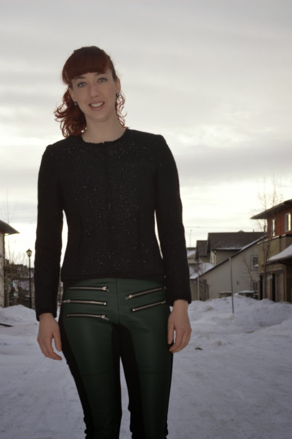 green, leather, pants