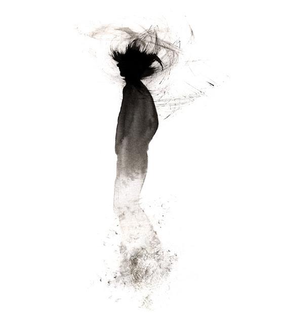 Inktober, silueta humana, brochazo, trazo gestual, degradado de tinta
