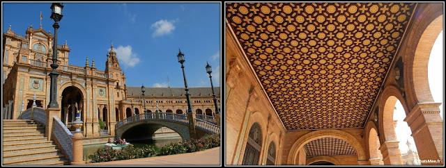 Séville Plaza España place de l'Espagne Parlement Andalou architecture plafond coffrage