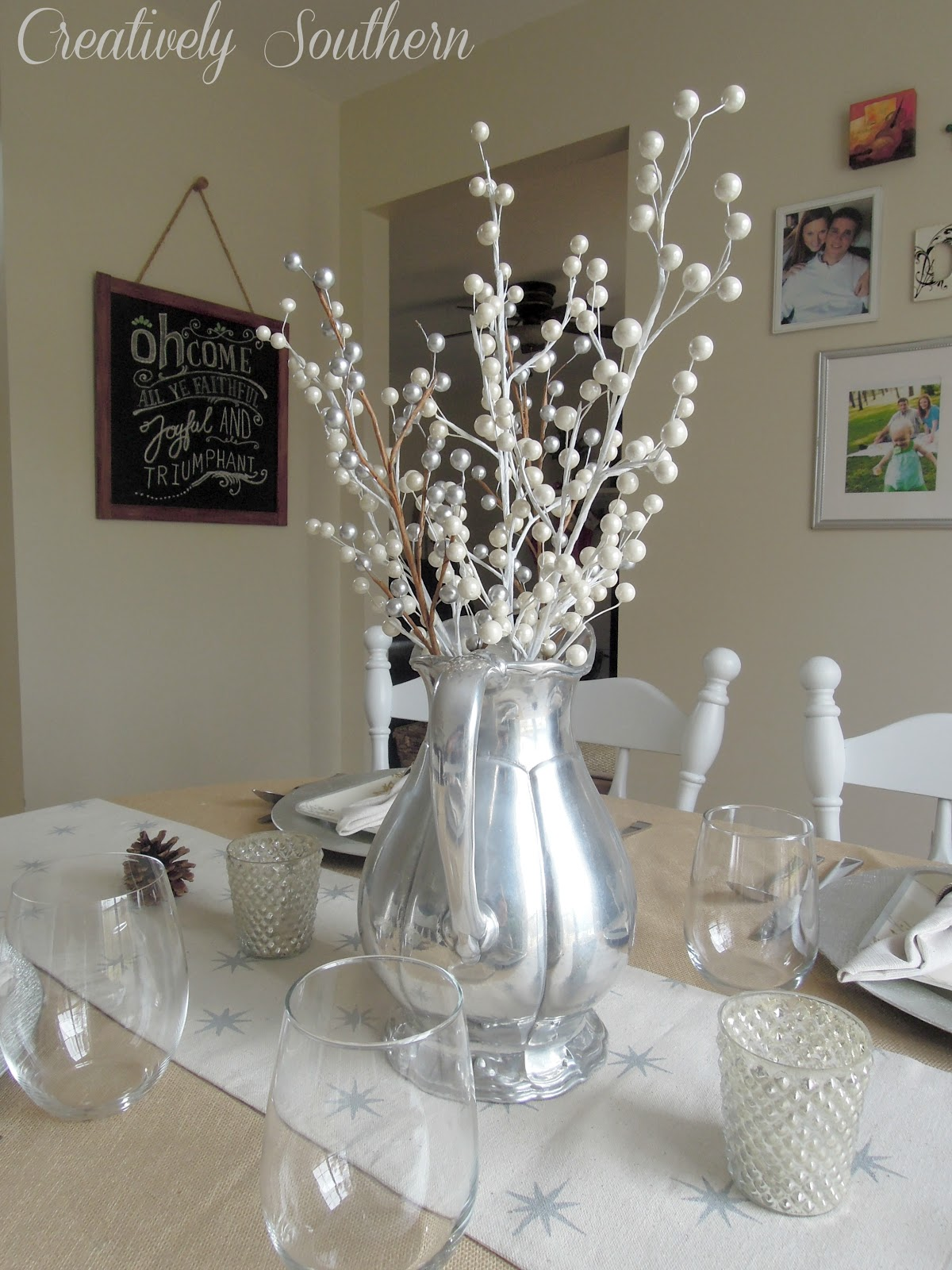 Silver and white christmas table decorations - 51 Best Images About Hands For Hope Centerpieces On Pinterest Manzanita Branches White Rose Centerpieces And Branches