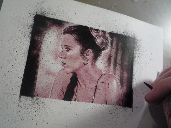 Princess leia sketch card in progress