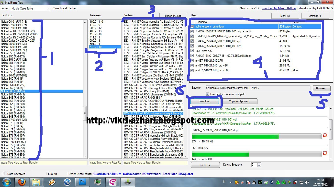 Mencari Firmware Nokia dengan NaviFirm Plus 1.7