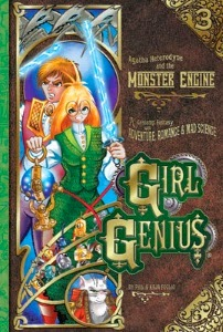 cover art for The Monster Engine, featuring Agatha holding an electric sword. A white boy with brown hair, Gil, stands behind her.