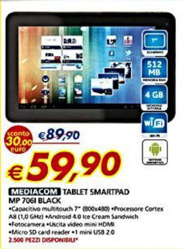 Super offerta mediacom smart pad 706i prezzo pi basso for Macchina da cucire prezzo piu basso