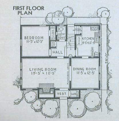 Floorplan from 1938 Sears Catalog Kit Houses