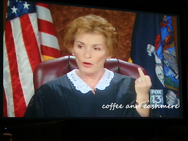 Judge Judy flipping the bird