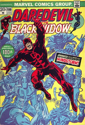 Daredevil #100, Daredevil swing around, in front of a gallery of his greatest foes