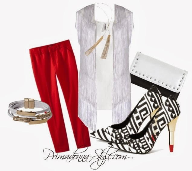 how to wear what to wear with tribal print red pants fringe top Nina Aghen Fringe Top Jersey Tank Top Merona Women's Tailored Ankle Pants Material Girl Handbag Lipstick Chic Tribal Lipstick Heels  Capsule by Cara Long Tassel Necklace Capsule by Cara Multi-Wrap Bracelet