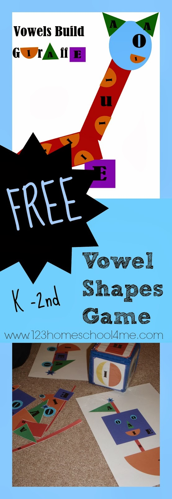 FREE Vowel Shapes Game for Kindergarten, 1st grade, and 2nd grade homeschoolers language arts