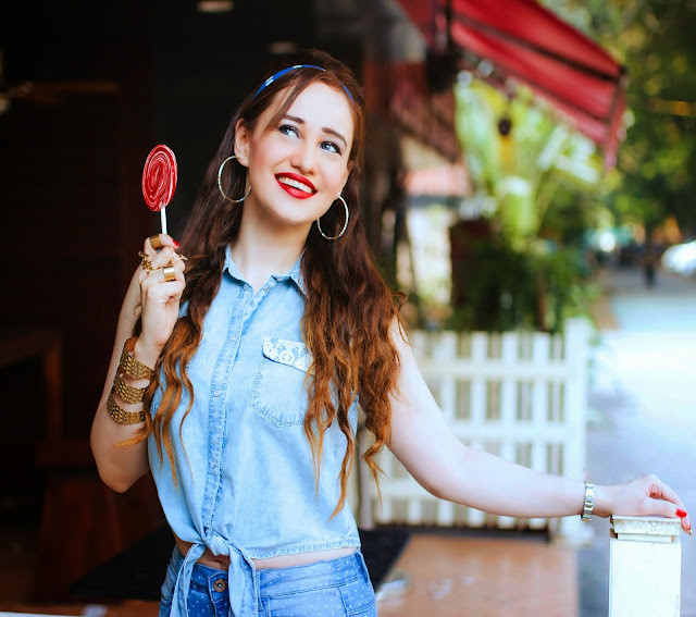 Chambaray Knotted Top, Retro denim on denim outfit, Hoop Earrings, Candy, Red Lips