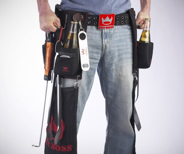 Pit Boss BBQ Tool Belt | Pit Boss BBQ Tool Belt Price $60 Pit Boss Pro BBQ Tool Belt is made to hold everything you could possibly need to work a grill, this belt is packed with pockets, rings, and loops. Three insulated pockets one in the back and two around front