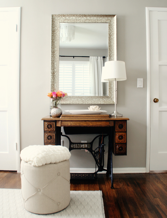 "antique vanity station  // paint color: Sherwin Williams ""Amazing Gray"""