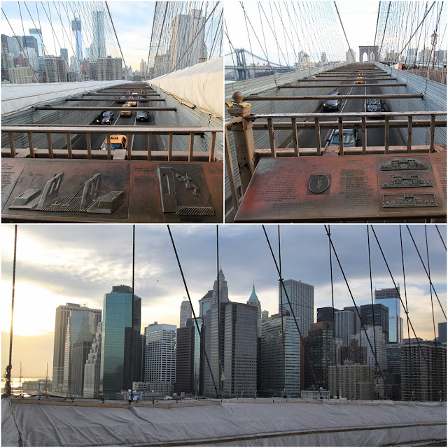 Different view perspective of Manhattan downtown from Brooklyn Bridge in New York, USA
