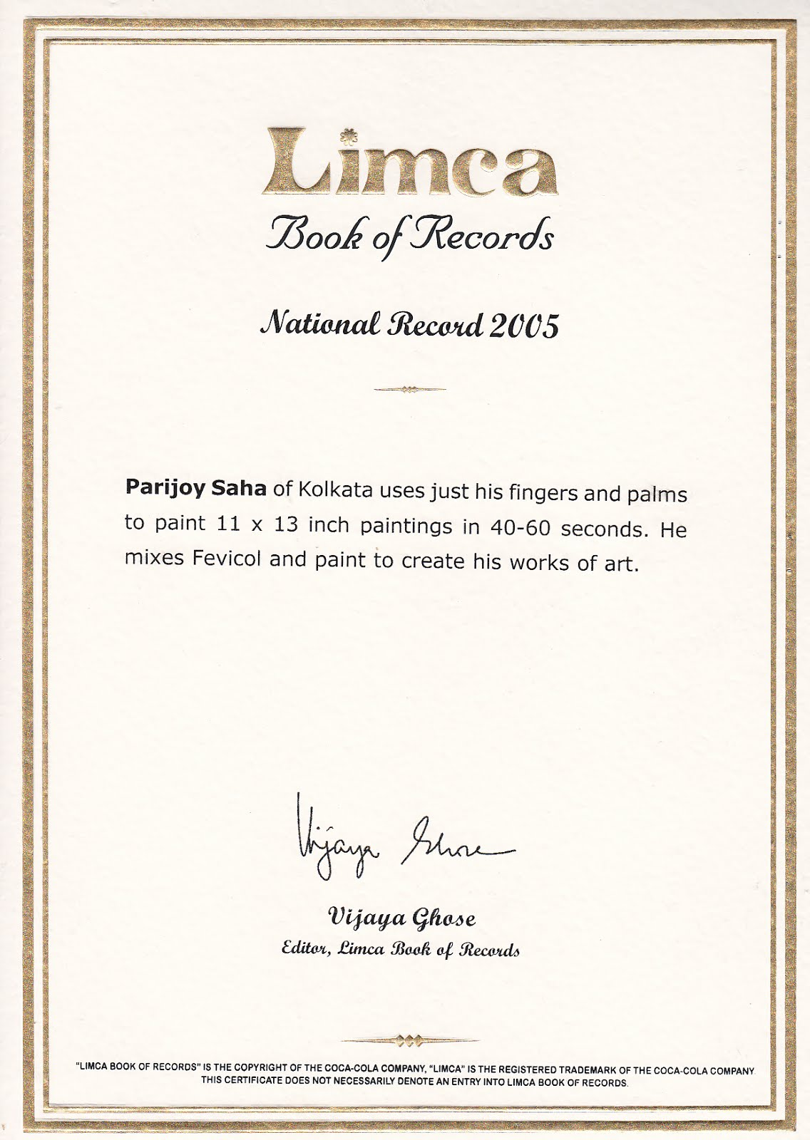 Limca Book of Records Fastest Paintings