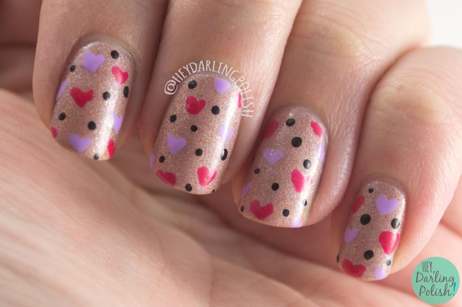 nails, nail art, nail polish, valentine's, hearts, hobby polish bloggers, hey darling polish, indie polish,