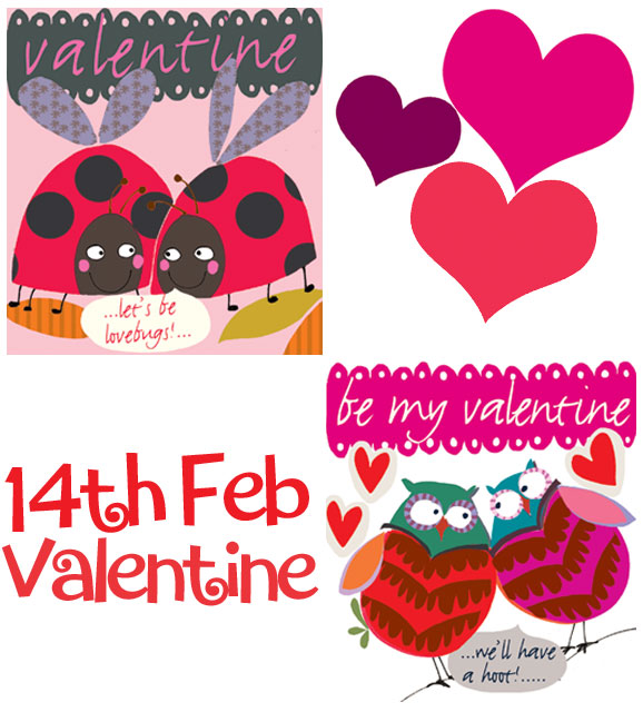 two ladybirds hearts 14th february valentine two owls greeting cards designers Liz and Pip Ltd
