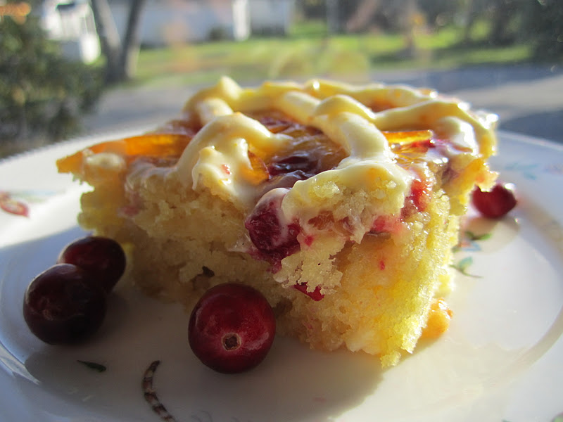 The Irish Mother: Cranberry Orange White Chocolate Snack Cake