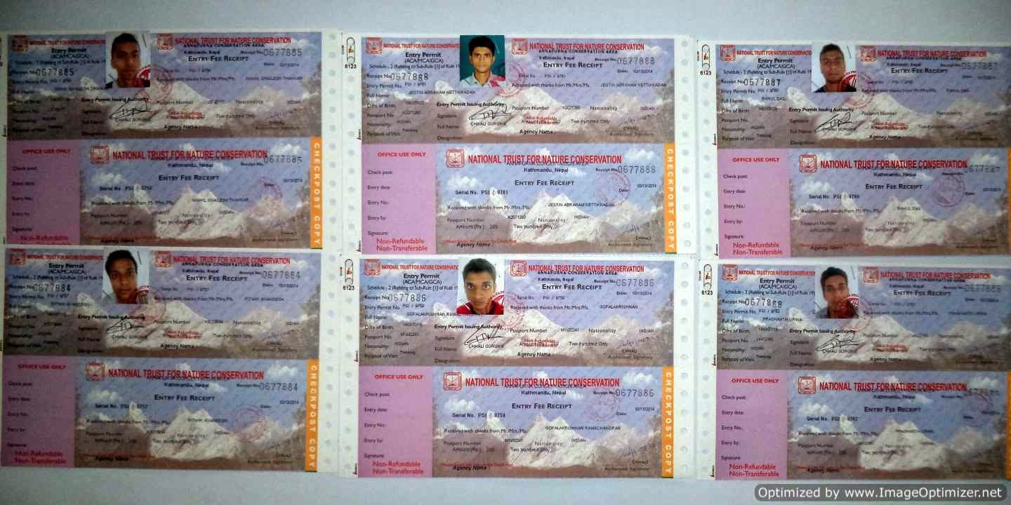 Permits for the trek