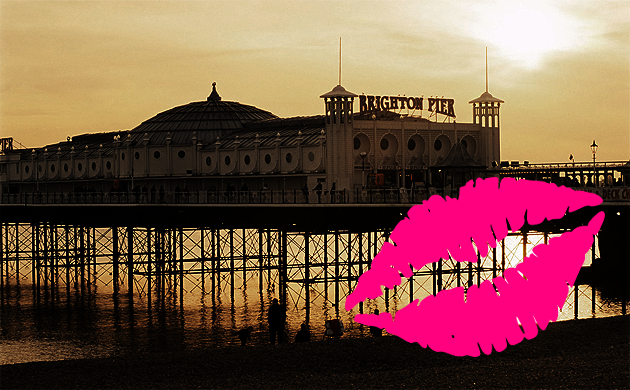 Brighton Pier sunset lips