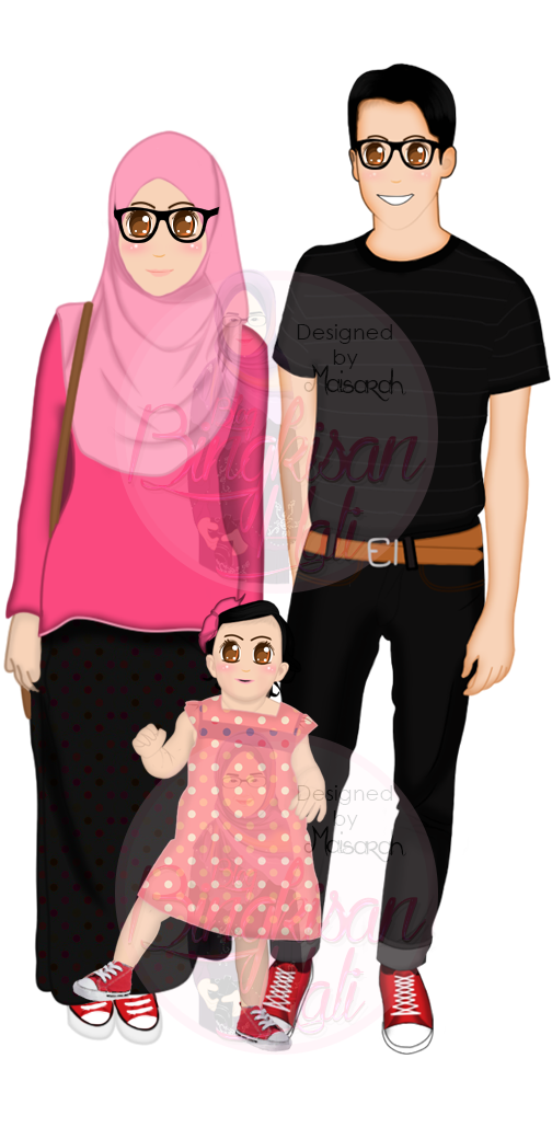 family doodle, keluarga, Portfolio, tempahan design doodle murah, tempahan design vector potrait, vector potrait,