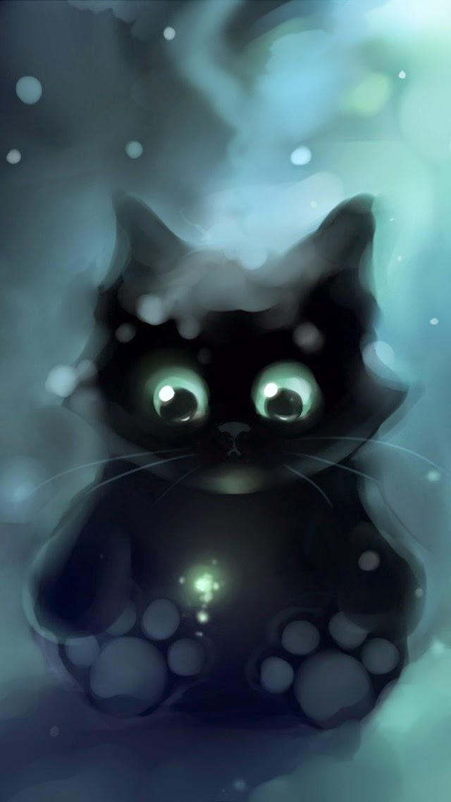 Cute cat drawn iphone 6 wallpaper