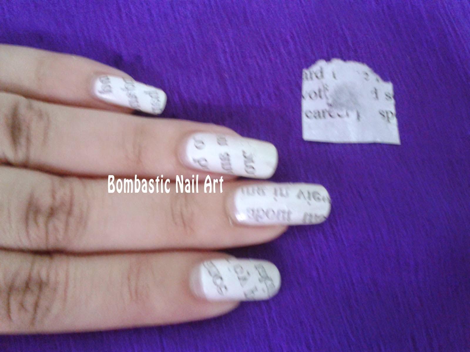Day 25: Newspaper Nails – Bombastic Nail Art