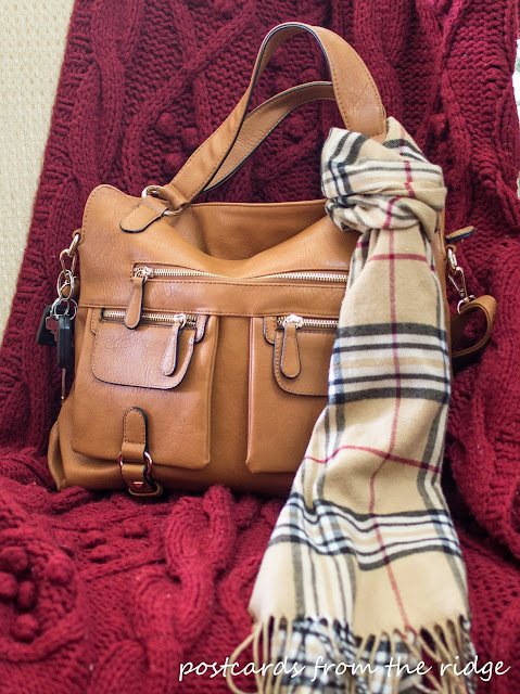Designer camera bag with plaid scarf